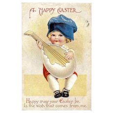 CLAPSADDLE - Easter Holiday Greeting Postcard  - Child and Mandolin