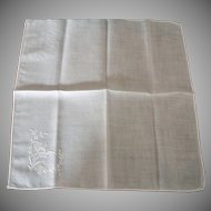 Ladies Vintage Linen Hankie - White on White Hand Stitched Corner Decoration