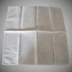 Ladies Vintage Linen Hankie - White on White Hand Stitched Corner Decoration