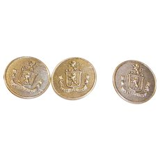 Three Vintage Silver Tone Buttons - Heraldic Shield  or Emblem Buttons