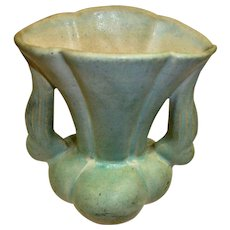"NILOAK Pottery VASE - Light Green – 6"" High - Tail-End of the Arts and Crafts Movement"