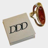 Dominique Dinouart DDD Sterling Amber Ring -  Vintage Designer Amber Ring
