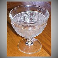 Vintage Patterned Pressed Footed Glass Compote