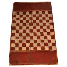 Antique Folk Art Wooden Checker or Chess Board  - Primitive Wood Game Board