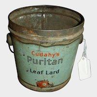 Vintage Lard  Handled Pail – Cidahy's Puritan Leaf Lard Bucket - Advertising Farmhouse Kitchen / Planting Room