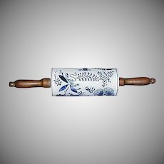 Antique Blue Onion  Rolling Pin