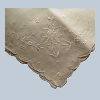 Vintage Embroidered White on White - Floral Hankie Handkerchief