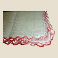 Vintage Cotton Hankie Handkerchief with Multi Color Pink Crochet Trim