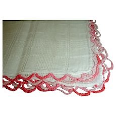 Vintage Cotton Hankie Handkerchief with Multi Color Pink Crochet Trim
