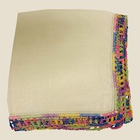 Vintage Cotton Hankie Handkerchief with Multi Color Crochet Trim