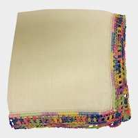 Vintage Cotton Hankie Handkerchief with Multi Color Crochet Trim