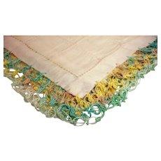 Cotton Hankie with Multi Color Crochet Trim - Vintage Handkerchief Hankie