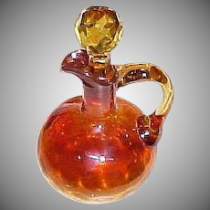 Antique Amberina Glass Cruet with Original Stopper - Inverted Thumbprint