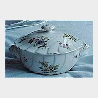 Vintage Floral China Covered Bowl - Flower Container with Matching Lid