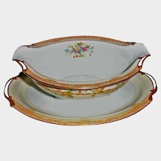 SALE *** Vintage Noritake China - OLYMPIA Pattern - Attached Gravy Boat
