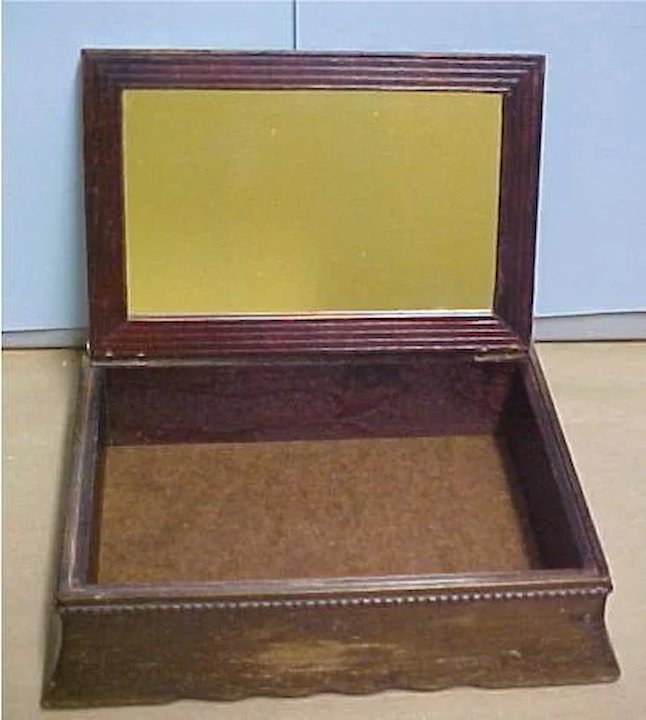 Vintage Wooden Dresser Box Jewelry Box Glass Top Flower Picture