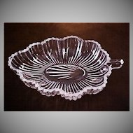 Vintage Patterned Pressed Glass Leaf Dish