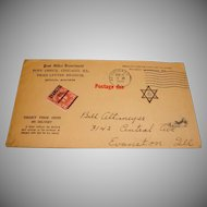 Postage Due Envelope 1933 – Jewish Star and Cancelled 3 cent Stamp