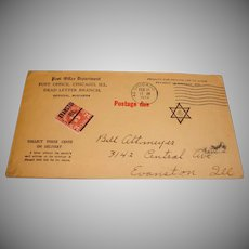 Postage Due Envelope – Jewish Star and Cancelled 3 cent Stamp – Feb 1933