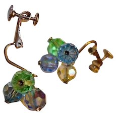 Crystal Bead Clip-on Earrings - Blue Green Champagne Color Crystals