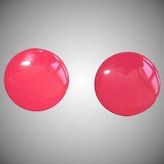 Enamel Pierced Earrings - Shocking Pink 1960's Mod Earrings
