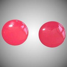 Vintage Enamel Pierced Earrings - Shocking Pink 1960's Mod Earrings