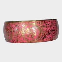 Vintage Wide PINK Enamel and Brass Bangle Bracelet - Era 1960's - Marked India B 498
