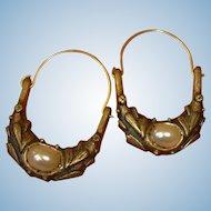 Vintage Pierced Earrings - Faux Baroque Pearl Dangle Earrings