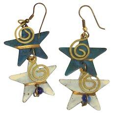 Vintage 2 Tone Denim Blue Dangle Pierced Earrings