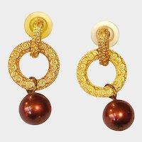 Vintage Gold Tone Pierced Earrings - Dangle Drop Bronze/Burgundy Color Bead Earrings
