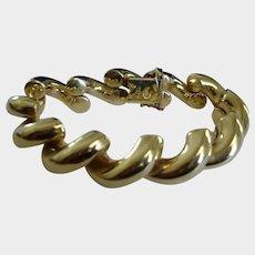 "San Marco 14K Yellow Gold Bracelet - 42 Grams - Italy - 7.5"" Long"