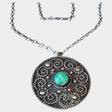 Vintage Los Ballesteros Taxco Sterling Silver Necklace - Pendant and Brooch Combo - Mexico Necklace - FREE USA SHIPPING