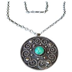 SALE - Early Los Ballesteros Taxco Sterling Silver Necklace - Pendant and Brooch Combo - Mexico Necklace - FREE USA SHIPPING