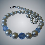 Vintage Glass Pearl and Blue Faceted Bead Necklace