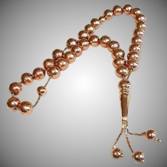 Vintage 18K Solid Gold Worry Beads or Prayer Beads - RARE