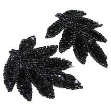 Vintage Black Seed Bead and Sequins – Leaf Shaped PIERCED Earrings