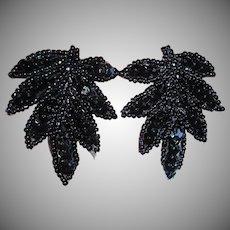 Vintage Black Seed Bead and Sequins Pierced Earrings –  Leaf Shaped Earrings
