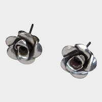 Vintage Antiqued Silver Color Flower Stud Pierced Earrings
