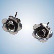 Vintage Antiqued Silver Color Flower Stud Pierced Earrings