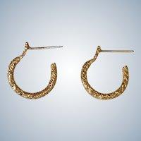 Vintage Golden Tiny Hoop Post Pierced Earrings - Huggies Earrings