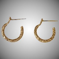 Vintage Golden Tiny Hoop Post Pierced Earrings