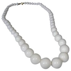 """Vintage White Bead Necklace - Single Strand Classic 24-1/2 """" Long"""
