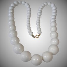 "Vintage White Bead Necklace -  Single Strand Simple and Classic 24-1/2 "" Long"
