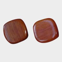 Vintage Square Wood Pierced Earrings –Pierced  Stud  Wooden Unisex Earrings