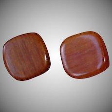 Vintage Square Wood Pierced Earrings –Pierced  Stud  Wooden Unisex Earrings
