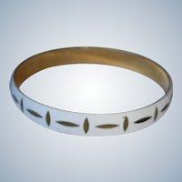 Vintage White Enamel with Golden Detail Bangle Bracelet