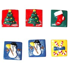 Vintage Christmas / Holiday Fun Button Covers