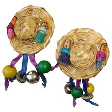 Vintage Whimsical Straw Hat Pierced Earrings - Bells Dolls and  Beads - Fantasy Whimsy Earrings