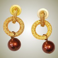 Vintage Gold Tone Pierced Earrings - Dangle Drop Earrings