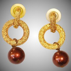 Vintage Gold Tone Pierced Earrings - Dangle Drop Earrings